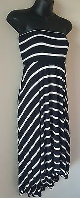 Motherhood Maternity dress small black white high low strapless stretch striped