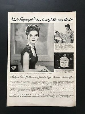 Pond's Cosmetics | 1945 Vintage Print Ad | Large Ad Woman's Cosmetics