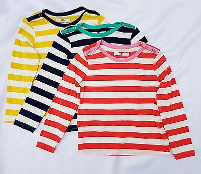 New M&S Girls, Pure Cotton Long Sleeve Stripe Bretton Top, 3 Pack.Age 18-24 m