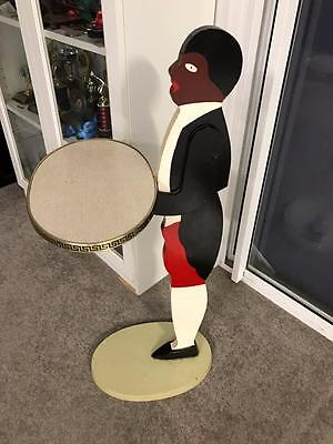 Old Vintage Art Deco Black Negro Butler Man Hall Plant Ashtray Stand Mid Century