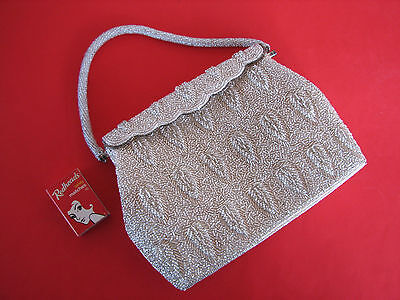 Beautiful Vintage 1950's Heavily Beaded Silver Evening Bag Purse