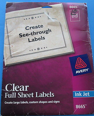 AVERY 8665 partial pack CLEAR FULL SHEET LABELS 10 SHEETS 8.5X11