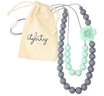 Baby Teething Necklace for Mom, Silicone Teething Beads, BPA Free (Mint/Gray)