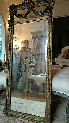 SHABBY Antique VTG FRENCH BARBOLA ROSE SWAG trumeau MIRROR OLD