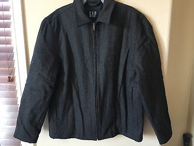 NWT GAP Gray Wool Blend Collared Zip Up Quilted Lining Jacket, Size M