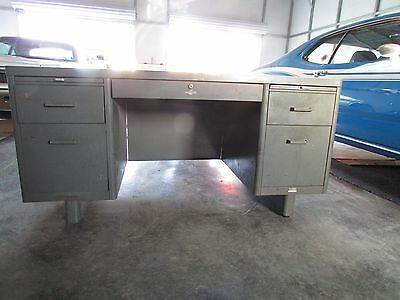 Vintage Heavy-Duty Metal Tanker Desk