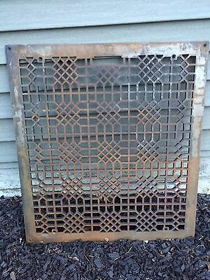 "Old Vintage Grate, Register Vent , Diffuser, Heat Air Cast Iron 27""  X 24"""