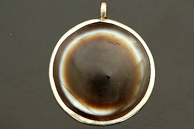 Rare and Large!!! Ancient Lumik Tibetan Goat's Eye Agate Dzi Bead made pendent