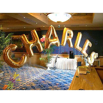 "40"" Large Letter Number Balloon Float Helium Alphabet Silver Gold Blue Pink Gift"