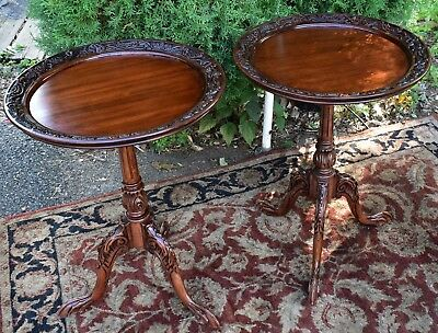 1940s Pair of Mahogany Sidetables Great American made English Chippendale style
