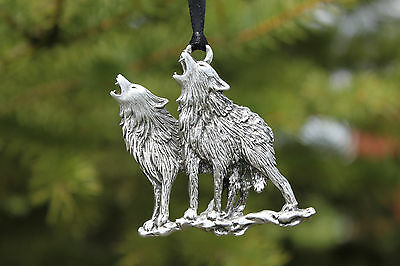Hand Made Lead Free Pewter Wolves Ornament decoration wolf pair howling Gift New