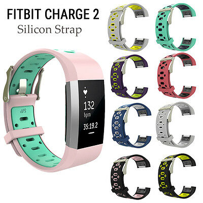 Replacement Watch Wrist Band Silicon Strap Bracelet Clasp For Fitbit charge 2