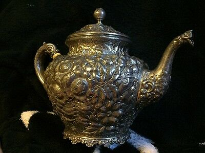 VINTAGE ROSE STERLING TEAPOT HAND CHASED GREAT CONDITION 519g