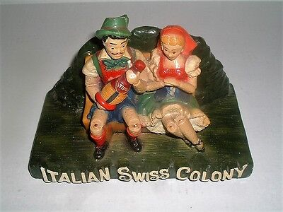 Vintage Italian Swiss Colony Wine Chalkware Bar Store Display Advertising
