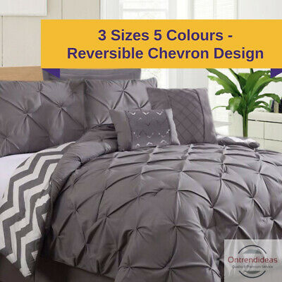 Ramesses 7 Piece Pinch Pleat Comforter Set | 4 Colours | 3 Sizes |  Bedspread