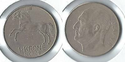 1973 Norway 1 krone coin with horse