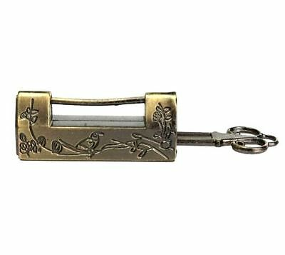 Vintage Retro Excellent Carved Magpie Bird Flower Leaf Padlock Lock & Key Gift ^