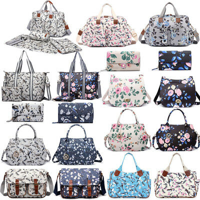 Birds Flower Tote Handbag Satchel Purse Backpack Large Mummy Changing Bag