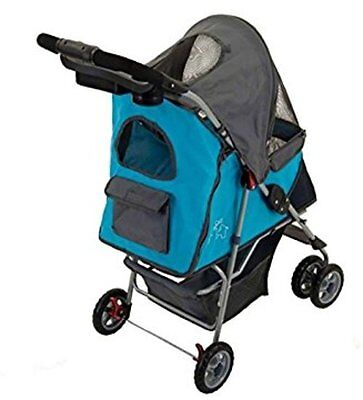 Small Dogs Stroller Pet Wheeled Buggy Dog Walk Carrier Travel Pushchair Puppy