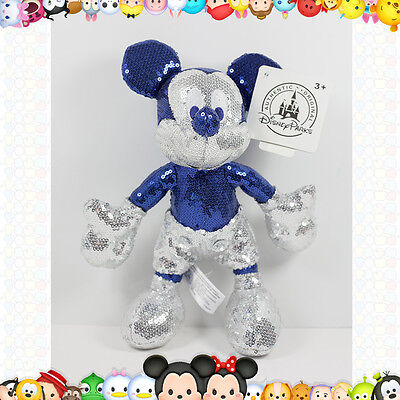 "Disney Parks 60Th Anniversary Diamond Mickey Mouse Sequin 9"" Plush Doll"