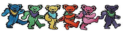 9 Inch Grateful Dead Rainbow Dancing Marching Bears Embroidery Applique Patch
