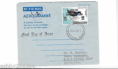 Western Samoa 1968 Kingsford Smith Overprint Aerogramme First Day Of Issue