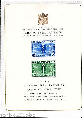 Ceylon 1952 Colombo Plan Set Mounted On Harrison And Sons Presentation Card.