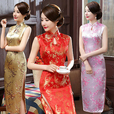Red Chinese Traditional Women's Long Qipao Cheongsam Wedding Evening Party Dress