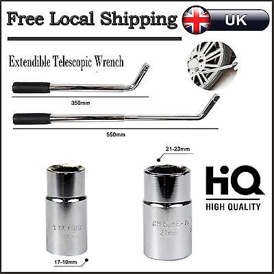 17 19 21 & 23mm Extendable Telescopic Car Van Brace Socket Wheel Tyre Nut Wrench