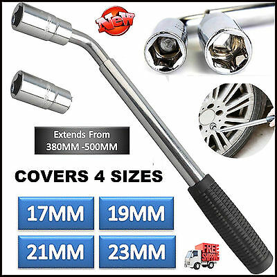 17&19 21 & 23mm Heavy Duty Van Car Extendable Wheel Brace Socket Tyre Nut Wrench