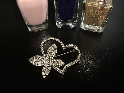 Unique Gold Heart and Butterfly Crystal Studded Wedding Brooch