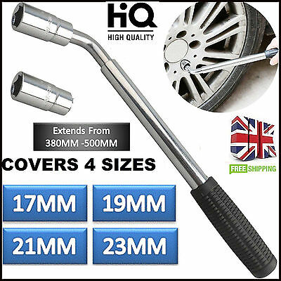 4 Sizes 17 19 21 23mm Telescopic Extendable Wheel Van Car Socket Tyre Nut Wrench