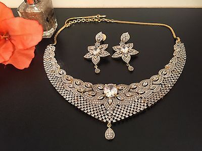 CZ AD Indian Necklace Bollywood Ethnic Gold & Silver with matching eardrops