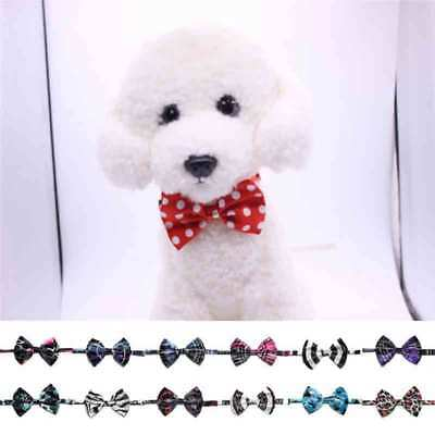 Wholesale Lovely Pet Dog Collar Polyester Silk Bow Tie Adjusteble Floral Bowties