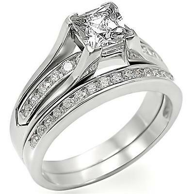 STERLING SILVER Simulated Diamond Engagement 2 Ring Set Size 5 6 8 10 / J L P T