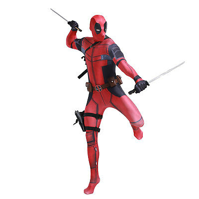 Deadpool Costume Adult Man Spandex Lycra Zentai Bodysuit Halloween Cosplay Suit