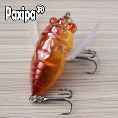 1x Cicada Fishing Lures Topwater Bass Crank Bait Bream Plastic Wing Fishing Hook