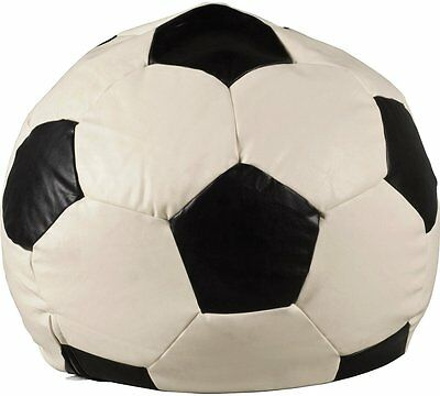 Leather Effect Football Beanbag Cover - Black & Off White