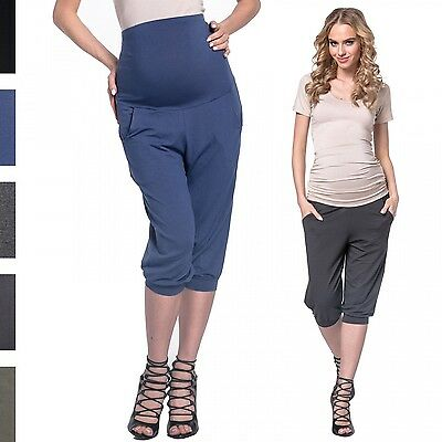 Happy Mama. Women's Elastic Maternity Capri Pants with Stretch Waistband. 665p