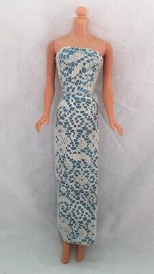 Vintage Barbie Doll Clone Knock Off Outfit WHITE LACE over BLUE Gown Dress