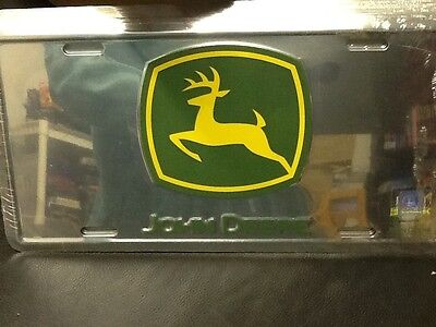 JOHN DEERE Novelty License Plate Polished Aluminum  NEW