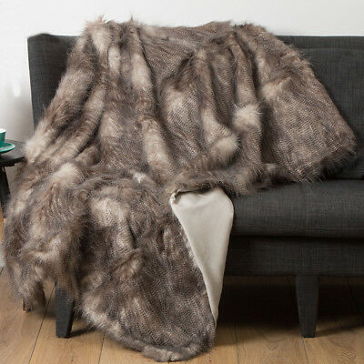 Luxury Speckled Faux Fur Throw Rug Blanket