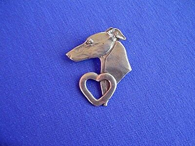 Whippet Greyhound Heart Pin #13E Pewter Sighthound Dog Jewelry b Cindy A. Conter