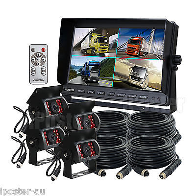 "Au stock 4pin Kit 9"" Quad Monitor + 4x CCD Camera 33Ft Cables For Truck Bus Van"