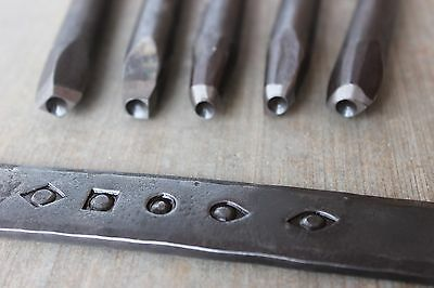 NEW! Hand-Forged Blacksmith 5-Piece Eye Punch Set - made from 5160