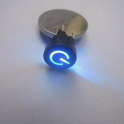 5pcs Blue LED 10mm Black Cap Power 12V 50mA Momentary Tact Push Button Switch