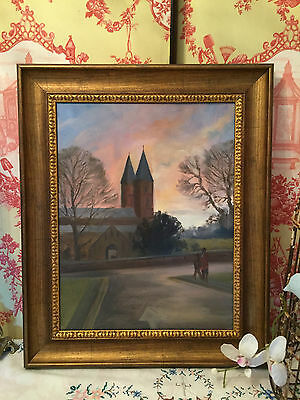 Southwell Minster Large Vintage Oil Painting on Canvas Unsigned Picture Framed