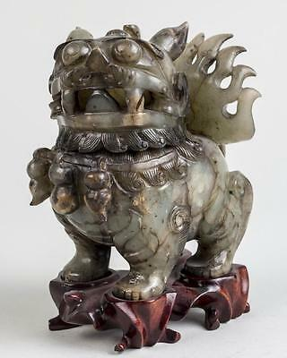 Fantastic Chinese Carved Hard Stone Foo Lion-Dog Censer With Stand 20Th C