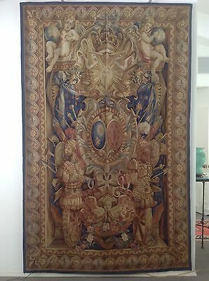 Aubusson Style Tapestry Wall Hanging or Rug -- Louis XV Royal Crest