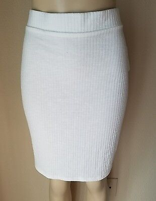 NWT Free Press Women's Ivory Ribbed Knit Stretch Body Con Skirt XL -2nd 15% Off